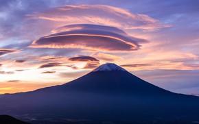 Picture clouds, mountain, Japan, mount Fuji