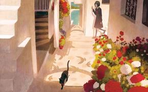 Picture cat, girl, flowers, corridor