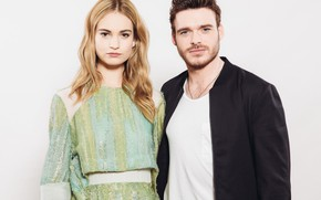 Picture look, girl, hair, pair, male, beauty, Lily James, Lily James, Richard Madden