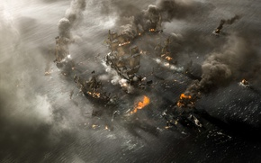 Picture cinema, explosion, fire, flame, chaos, sea, smoke, war, movie, death, battle, film, ships, spark, destruction, …