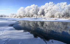 Picture winter, frost, the sky, water, snow, river, Orenburzhye