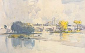Picture bridge, figure, watercolor, Tour, Arthur Streeton, Arthur Streeton