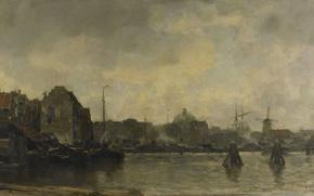 Picture oil, picture, canvas, City view, Jacob Maris Hendrikus