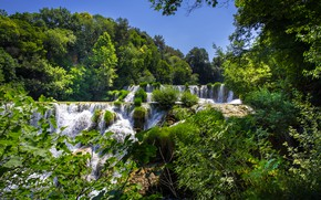 Picture forest, trees, waterfalls, cascade, Croatia, Croatia, Krka National Park, Krka national Park