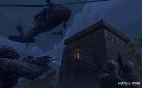 Picture the descent, soldiers, helicopter, operation, Midnight operations