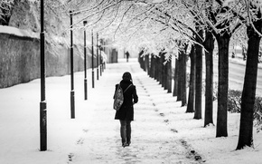 Picture girl, snow, the city, alley