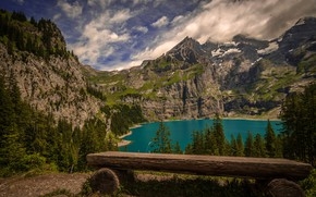 Picture forest, the sky, clouds, trees, mountains, lake, rocks, view, Switzerland, shop, Sunny, The Canton Of ...