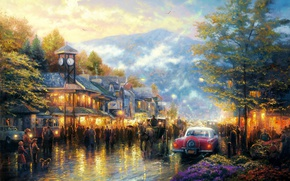 Picture machine, mountains, the city, lights, people, watch, home, the evening, lights, Thomas Kinkade