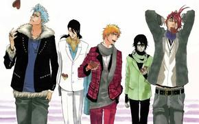 Picture Bleach, Anime, Ichigo Kurosaki, art, Byakuya Kuchiki, Renji Abarai, Ulquiorra Cifer, Grimmjow Jagger Jack