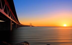 Picture the sun, sunset, bridge, Strait, Sweden, Malmo