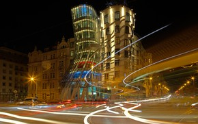 Picture night, lights, Prague, Czech Republic, the dancing house