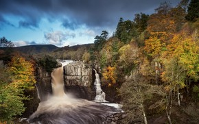 Picture autumn, river, waterfall
