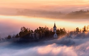 Picture tower, sunset, fog, Church