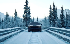 Wallpaper road, the sky, snow, mountains, bridge, lights, lights, tree, Dodge, road, bumper, bridge, dodge, challenger, ...