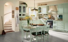 Wallpaper room, style, interior, kitchen, vintage