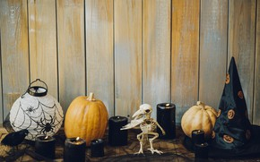 Picture holiday, hat, candles, pumpkin, Halloween