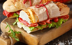 Picture food, bread, sausage, sandwiches, tomatoes-cherry