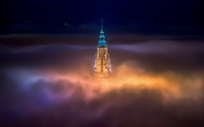 Picture roof, light, night, the city, fog, Church, Cathedral, top