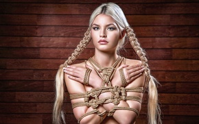 Picture look, girl, portrait, rope