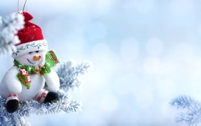 Picture snow, branches, holiday, New year, snowman