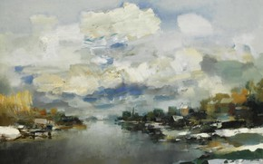 Picture picture, river, Albert Saverys, Winter landscape, clouds