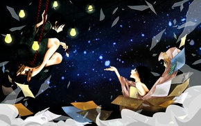 Picture night, fragments, swing, box, sleep, sheets, brush, light bulb, Japanese clothing, art, starry sky, two …