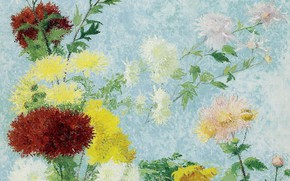 Picture flowers, picture, Achille Lauge, Achilles Box, Study Of Chrysanthemums