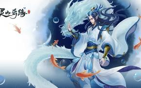 Picture water, dragon, fish, fantasy, location, Lingshan Qi Yuan