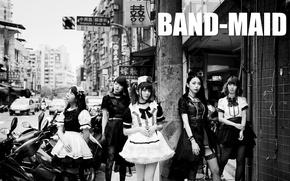 Picture city, black & white, street, Misa, j-rock, Kanami Tōno, Miku Kobato, band-maid, Akane Hirose, all-girls, …