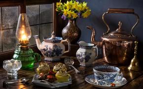 Wallpaper still life, daffodils, lamp, cupcakes, sugar, the tea party, bouquet, window, tea, flowers, mug, kettle, ...