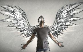 Wallpaper Sketch, angel, author, wings, male, people, Sebastien DEL GROSSO