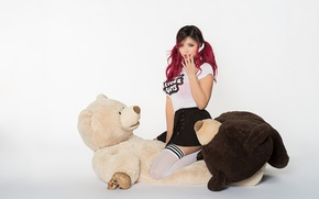 Picture look, girl, face, style, toy, bear