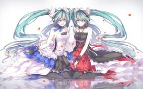 Picture water, reflection, girls, anime, petals, art, vocaloid, hatsune miku, 7th dragon 2020, kitchan
