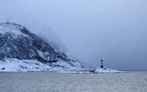 Picture winter, mountains, snow, lighthouse, bay, foggy, islet, cove