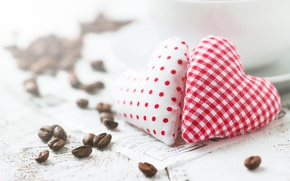 Picture heart, coffee, grain, love, heart, romantic, valentine's day
