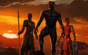 Wallpaper sunset, girls, Africa, girls, Marvel, movie, 2018, Africa, EXCLUSIVE, Black Panther, T`Challa, MCU, Wakanda, Black ...