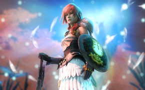 Picture girl, sword, shield, Final Fantasy XIII, Lightning, Claire Farron