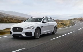 Picture road, white, the sky, mountains, movement, markup, Jaguar, pond, universal, XF Sportbrake