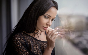 Picture glass, reflection, hand, makeup, brunette, hairstyle, fingers, beauty, is, in black, bokeh, window, Angelina Petrova, ...