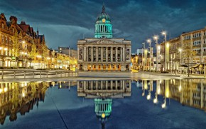 Picture night, lights, reflection, England, home, area, Nottingham