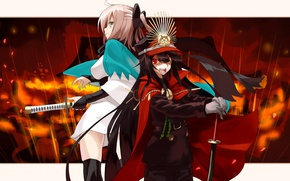 Picture girl, sword, hat, anime, stripes, crossover, ken, blade, asian, japanese, kimono, bishojo, shounen, Fate Grand …