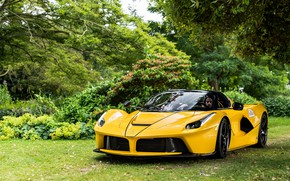 Picture yellow, Ferrari LaFerrari, Aperta, Ferrari Jeep Has Open