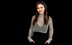 Picture makeup, actress, brunette, hairstyle, blouse, singer, is, beautiful, black background, photoshoot, smiling, Victoria Justice, Victoria …