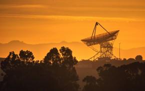 Picture landscape, sunset, telescope, antena