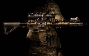 Picture background, optics, carabiner, assault rifle