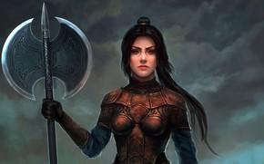 Picture dark, girl, fantasy, weapon, Warrior, ponytail, brunette, artwork, fantasy art, double ax