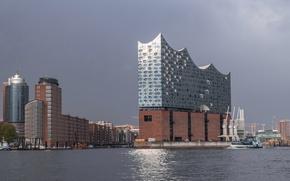 Picture ship, home, crane, Germany, Hamburg, harbour, The Elbe Philharmonic hall