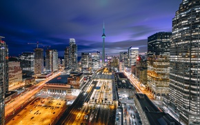 Picture the city, lights, home, the evening, Canada, Toronto