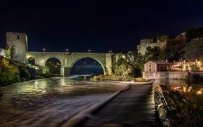Picture trees, night, bridge, lights, river, lights, fortress, Spain, Toledo