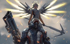 Picture gun, game, soldier, mecha, weapon, rifle, mask, seifuku, Overwatch, Mercy, Soldier 76, agel, by wlop